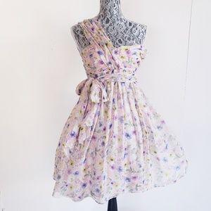 ZARA WOMAN 100% Floral Silk Party Dress